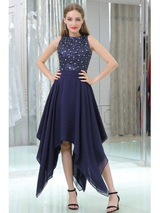 Navy Blue High Low Chiffon Prom Party Dress With Beaded Lace Bodice
