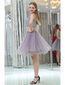 Lavender Tulle Short Suit Skirt With Lace Jacket For Prom Girls