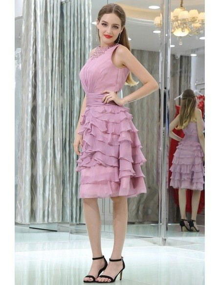 Layered Lilac Short Chiffon Prom Dress With Modest Beaded Neck