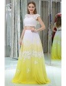 Gradient White And Yellow Lace Prom Dress In Two Pieces