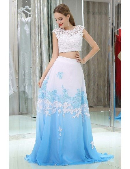 Two Pieces Lace Beaded Prom Gowns In Gradient White And Blue