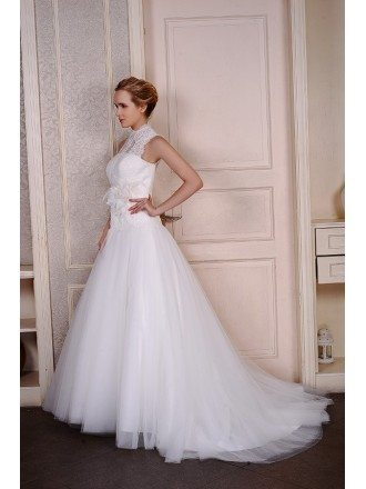 Ball-Gown High Neck Court Train Tulle Wedding Dress With Appliquer Lace Flowers