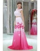 Two Pieces Lace Beaded Gradient White And Fuchsia Chiffon Prom Dresses