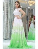 Long Lace Chiffon Gradient White And Green Prom Gown In Two Pieces