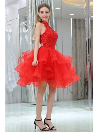 Hot Red Short Halter Layered Organza Prom Dress With Two Pieces