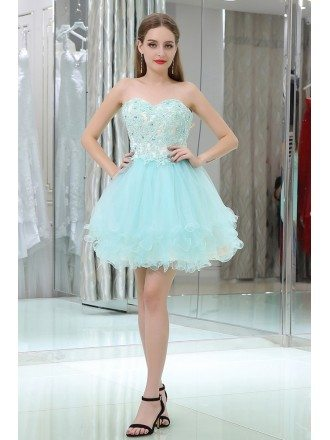 Strapless Short Tulle Baby Blue Prom Gown With Crystal Lace