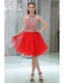 2 Piece Hot Red Sparkly Halter Prom Dress With Crystals