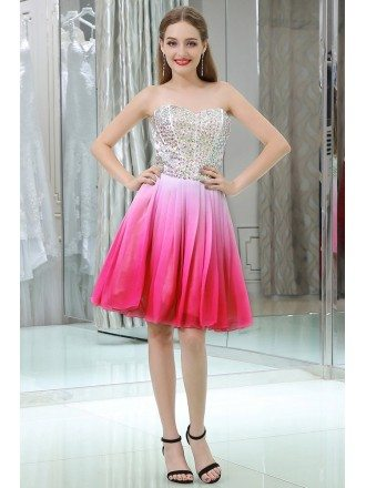 Strapless Gradient Pink Little Chiffon Prom Dress With Crystals Bodice
