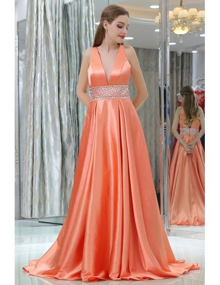 Coral Beaded Evening Dresses