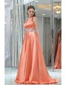Long Deep V Beaded Coral Satin Evening Dress With Big Ball Gown