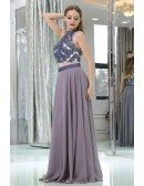 Long Chiffon Sexy Two Piece Unique Prom Dress With Crystals