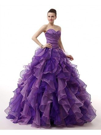 Formal Pleated Top Ballgown Ruffled Quinceanera Dress with Corset