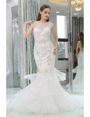 White Mermaid Beaded Tulle Formal Dress With Sheer Back