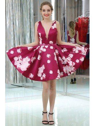 Simple Burgundy Deep V Short Beaded Formal Dress With Printed Floral