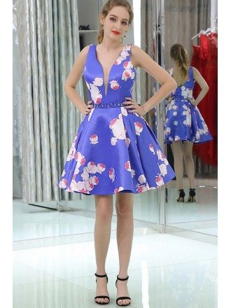 Deep V Blue Short Beaded Satin Evening Dress With Printed Floral