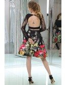 Two Piece Floral Print Short Black Lace Party Dress With Long Sleeves