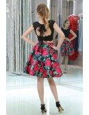 Two Piece Short Black Lace Beaded Party Prom Dress With Printed Floral