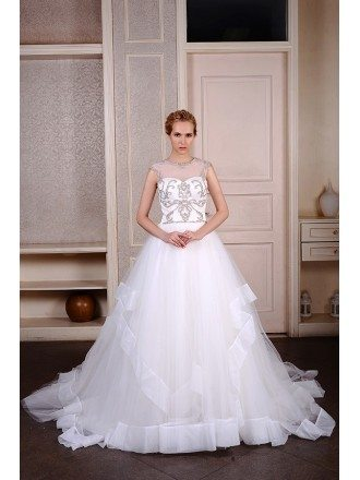 Ball-Gown Scoop Neck Cathedral Train Organza Wedding Dress With Beading Trim