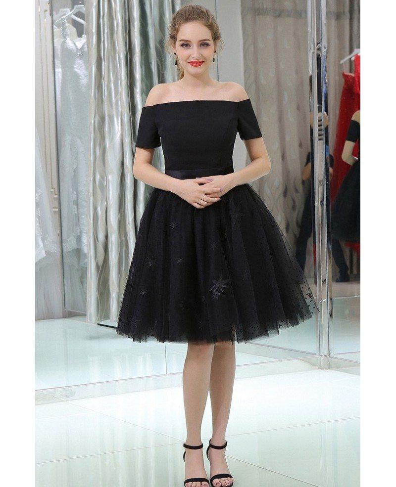 Little Black Short Lace Tulle Satin