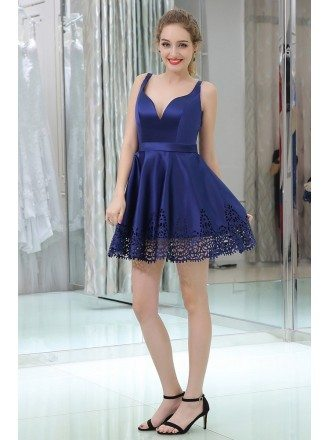 Simple Sexy Sweetheart Blue Satin Prom Dress In Cocktail Length