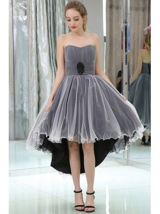 Strapless High Low Tulle Prom Dress In Black And White Color