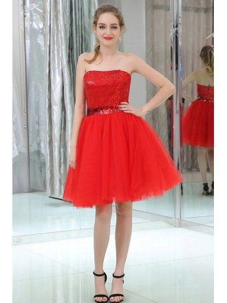 Red Cocktail Sequined Tulle Prom Dress With Vintage Halter Neck