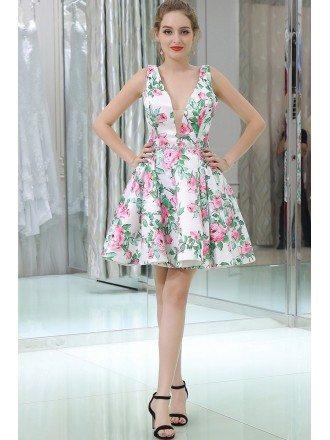 Special Floral Print Short Satin Deep V Evening Dress With Beading