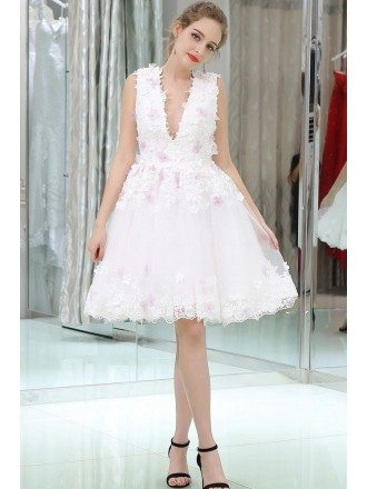 White Lace Deep V Short Prom Dress With Hand-made Flowers
