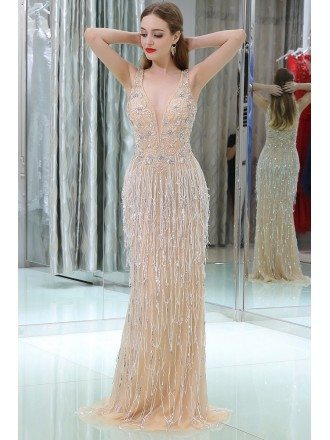 Bling Bling Slender Sequined Long Prom Dress With Little Train