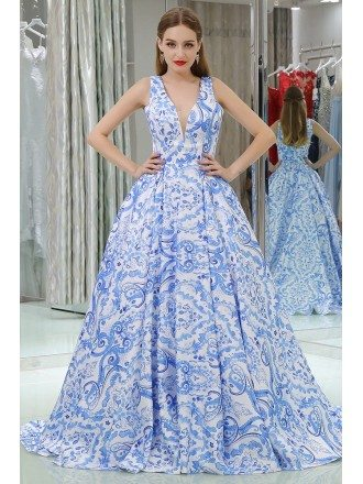 Gorgeous Long V Floral Print Blue Prom Gown With Sweep Train