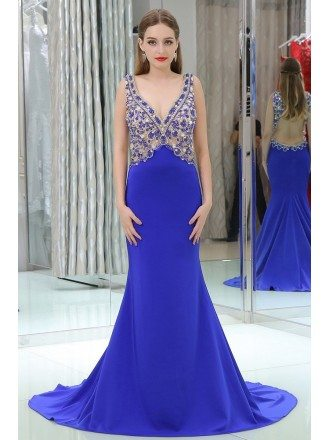 Shining Mermaid Long Blue Trained Prom Dress With Open Hole Back