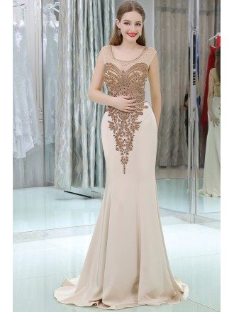 Sparkly Beading Mermaid Long Nude Evening Dress With Sweep Train