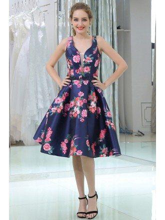 Straps Short Blue Floral Print Beaded Evening Dress For Women