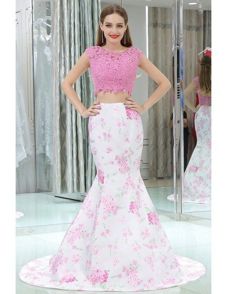 Two Pieces Mermaid Floral Pink Prom Dress With Beading