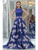 Floral Printed Royal Blue Beaded Satin Evening Gown For Prom Girls