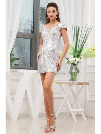 A-line V-neck Short Sequined Cocktail Dress