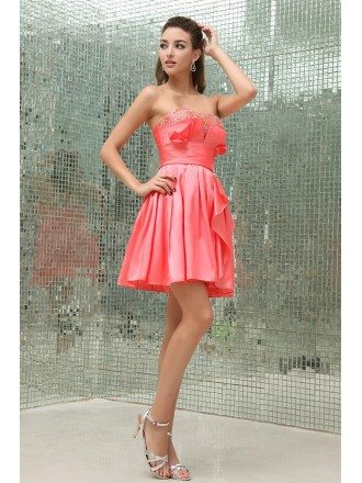 A-line Strapless Short Satin Homecoming Dress With Beading