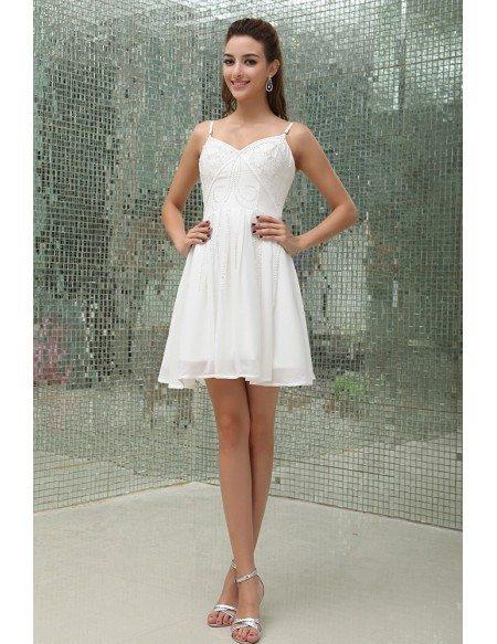 A-line V-neck Short Chiffon Homecoming Dress With Beading