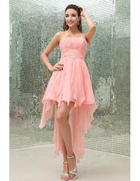 A-line Strapless Asymmetrical Chiffon Prom Dress With Beading