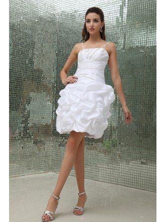 Sheath Strapless Short Satin Prom Dress With Beading