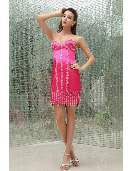 Sheath Sweetheart Short Satin Prom Dress With Beading