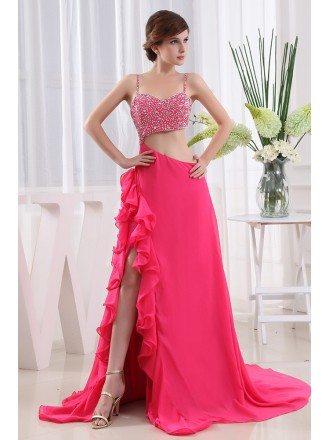 A-line Sweetheart Court Train Chiffon Prom Dress With Beading