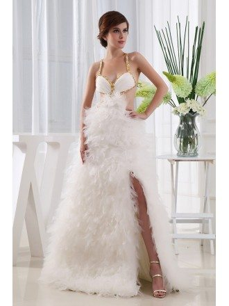 A-line V-neck Floor-length Tulle Prom Dress With Cascading Ruffle