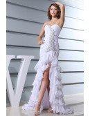 Mermaid Sweetheart Floor-length Chiffon Wedding Dress With Beading