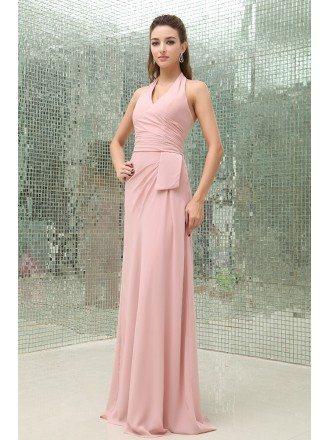 Sheath Halter Floor-length Chiffon Bridesmaid Dress