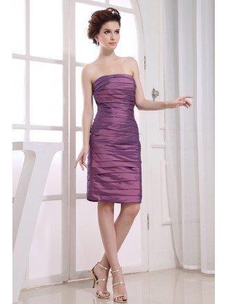 Sheath Strapless Knee-length Satin Cocktail Dress