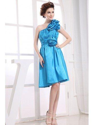 A-line One-shoulder Knee-length Satin Bridesmiad Dress