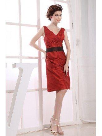 A-line V-neck Knee-length Satin Cocktail Dress