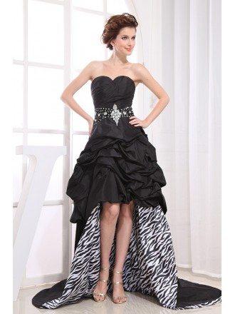 Black A-line Sweetheart Asymmetrical Satin Wedding Dress With Beading
