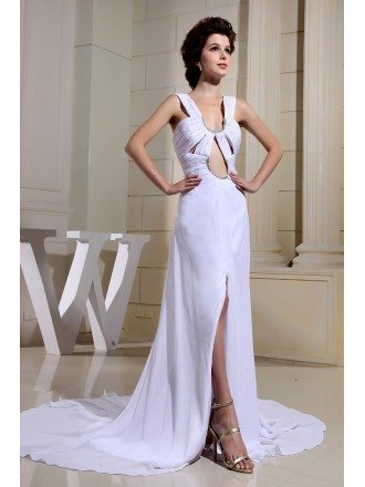 A-line Scoop Neck Court Train Chiffon Evening Dress With Split